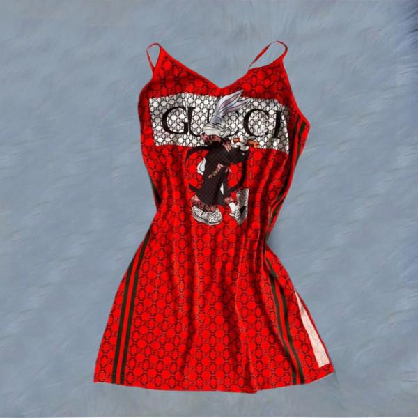 Casual Printed Straps Pajamas Dress