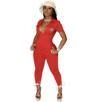 Casual Printed Short Sleeve Jumpsuits with 4 Pockets