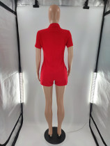 Casual Zipper Embroidery Tooling One Piece Romper with 4 Pocket