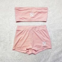 Solid Color Embroidered Wrapped Top and Shorts