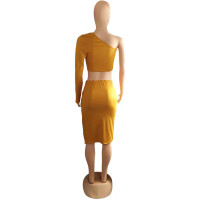 Sexy Singe Shoulder Crop Top and Midi Skirt