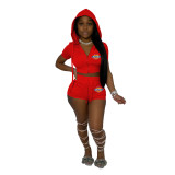 Casual Hoodie Zipper Embroidery Two Piece Shorts Set with Pocket