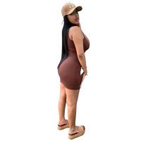 Solid Color Sleeveless High Neck Mini Summer Dress Women