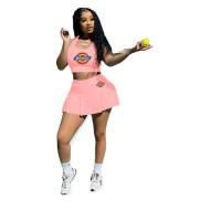 Baseball Uniform Printed Vest and Culottes Pleated Skirt