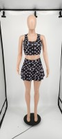 Two Piece Printed Nightclub Sports Vest and Culottes Skirt Set