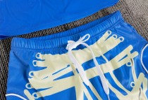 Casual Short Sleeve Drawstring Printed Short Skirt Set