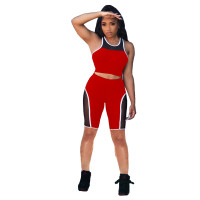 Two Piece Casual Stitching Mesh Vest and Shorts