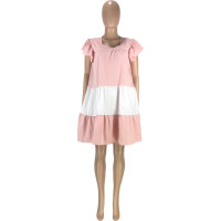 Casual Color Matching Ruffle Sleeve Loose Lady Dress