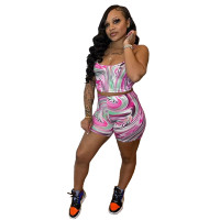 Two Piece Set Printed Sling Tank Top and Shorts