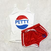 Sexy Graphic Print Vest Shorts Yoga Pants Suit