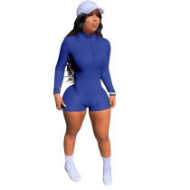 Thread High Neck Embroidered Letters Zipper Sports Short Jumpsuit