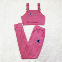 Casual Rose Embroidery Letter Adjustable Suspender Top and Trouser