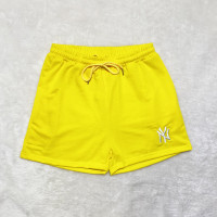 Yellow Brand Embroidered Pattern Double Pocket Rope Shorts