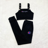 Casual Embroidery Letter Adjustable Suspender Top and Trouser