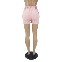 Pink Brand Embroidered Pattern Double Pocket Rope Shorts