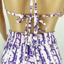 Sexy Letter Print Bandage Bra and Trousers Suit
