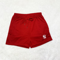 Red Brand Embroidered Pattern Double Pocket Rope Shorts