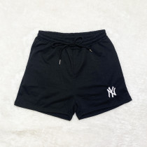 Black Brand Embroidered Pattern Double Pocket Rope Shorts