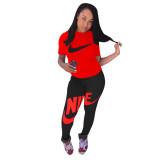 Trendy Sports Brand Printed Tracksuit 2 Piece Set Women Summer