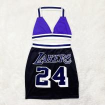 Casual Letter Printed Halter Neck Vest Two-piece Skirt Sets