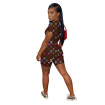 Positioning Printed Invisible Zipper Short Sleeve Rompers