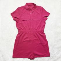 Solid Color Double Pocket Short Sleeve Romper