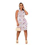 Casual Sleeveless Letter Print Mini Dress