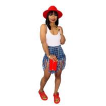 Casual Printed Fringed Denim Skirt
