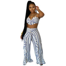 Casual Stringy Selvedge Striped Straps Crop Top and Trousers with Belt