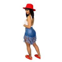 Casual High Waisted Fringe Denim Skirt