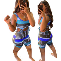 Casual Pit Striped Lace-up Rompers