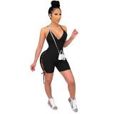 Solid Color Ribbed Straps Bodysuit