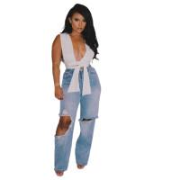 Ladies Denim Ripped Holes Jeans