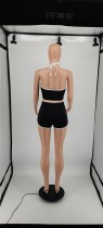 Two Piece Clothing Solid Color Halter Top and Shorts