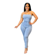 Casual Straps Bandage Backless Sexy Jumpsuit