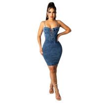 Sexy Adjustable Straps Denim Club Dress