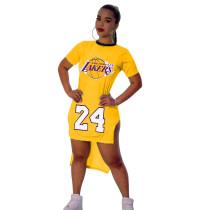 Casual Pattern Printed Short Sleeve Tuxedo Split Party Dress Basketball Cheerleaders