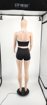 Two Piece Clothing Solid Color Printed Halter Top and Shorts