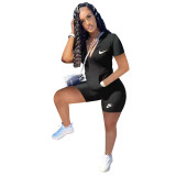 Casual Embroidered Zipper Jmpsuit with Two Pocket