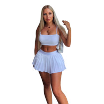 Solid Color Sports Pleated Skirt Set