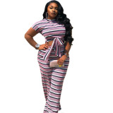 Plus Size Striped Print Two Piece Trousers Set