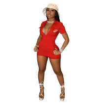 Casual Brand Embroidered Zipper Romper with Four-pocket