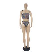 Three Piece Sexy Pattern Printed Bikini Set and Shorts