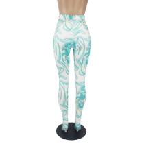 Casual Pattern Printed High Waisted Pantyhose Trousers