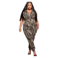 Casual Zipper Camouflage Print Clothing Wmenn Jumpsuit