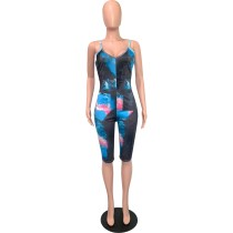 Plus Size Fat Women Straps Tie-dyed V-neck Midi Jumpsuit