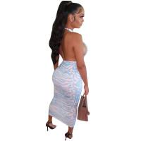 Sexy Halter Printed Mid Dress