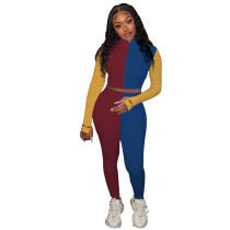 Multicolor Stitching Embroidered Long Sleeve Two Piece Set