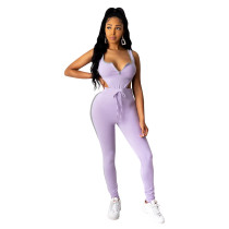 Sleeveless Sports Sexy Bodysuit and Trousers