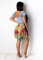 High-waisted Distressed Tie-dye Denim Shorts with Fringe